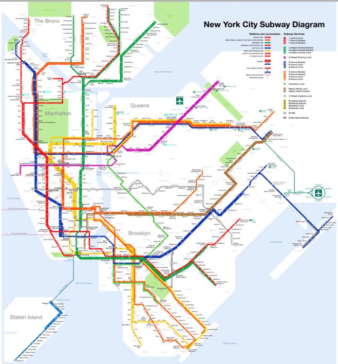 Mapa do Metro Nova Iorque © MTA